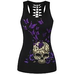 Aivtalk - Camiseta sin Mangas con Impresión Calavera Chaleco Casual Atractivo Verano para Chicas mujeres, Modelo 4