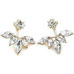 LUFA La margarita cristalina de las mujeres florece los pendientes después de colgar los regalos de la joyería del perno prisionero del oído