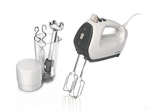 Philips HR1575/51 Handmixer (550 Watt, 5 Geschwindigkeiten plus Turbo, FlexiMix) weiß/grau