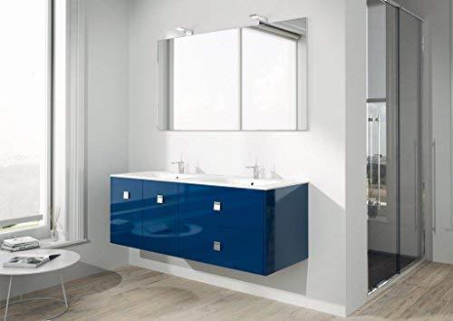 Dafnedesign.com - mobile da bagno completo con doppio lavabo rettangolare e specchio rettangolare l.140 h.75, 2 lampade led, made in italy 100%