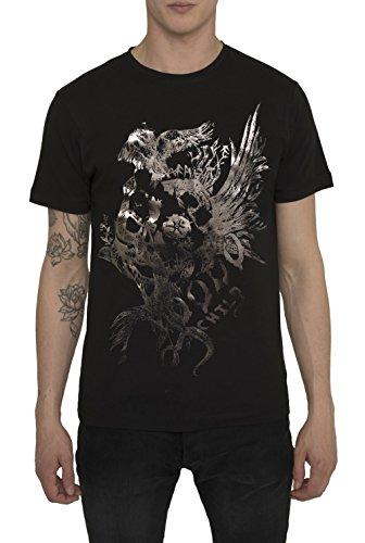 Herren Designer Shirts, T Shirt in Schwarz, Grau mit Design Metallic Aufdruck in Gold, Silber - Eagle - Höchste Qualität 100% Baumwolle, Urban Mode IM Fashion Rock Band Style, Coole Tops für Männer (Top Print Animal Folie)