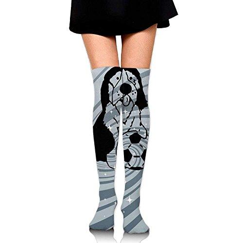 Not afraid Women's Knee High Sport Long Sock Collie Playing Soccer 50CM (Soccer Tape Sock)