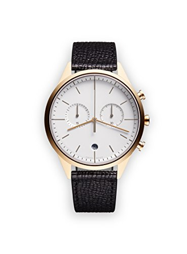 uniform wares c39 quartz watch with grey chronograph dial with black leather strap