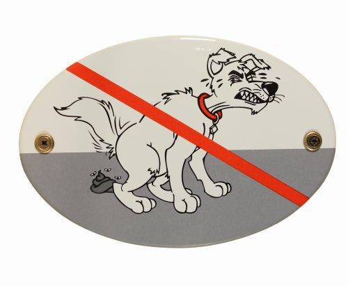 Emaille Schild Kackhund 15x10 cm Hunde Hundekot Hundetoilette kein Hundeklo wetterfest lichtecht Emailleschild oval