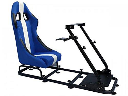FK-Automotive Game Seat Spielsitz für PC und Spielekonsolen Stoff blau/weiß