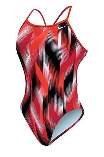 Nike Frauen Beam Modern Cut-Out Tank Badeanzug (38, Rot) - Nike Damen Badeanzug