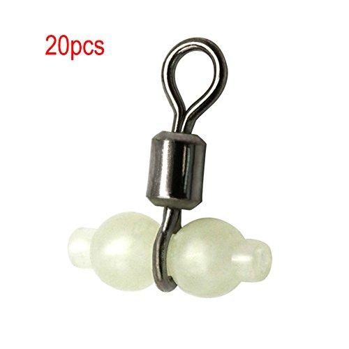 EMVANV 20 piezas luminoso Gourd Rolling giratorio accesorios de pesca anillo conector mar aparejo pesca Herramienta, Como indica la imagen, 15x13mm