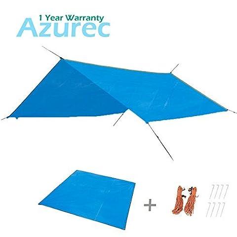 Triwonder Tente de camping Tarp Empreinte extérieur étanche Hamac Rain Fly Rainfly Coque Pare-soleil Shelter Ciel de tapis de sol Tapis de couverture, femme Homme Enfant, Blue+Accessories