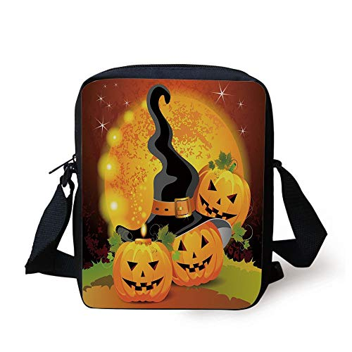 Halloween,Witches Hat Spooky Pumpkins Magical Night Autumn Nature Full Moon,Light Orange Green Black Print Kids Crossbody Messenger Bag Purse Halloween-coin-set