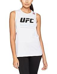 Reebok UFC Fg Logo Tank Camiseta de Tirantes, Mujer, Blanco, L