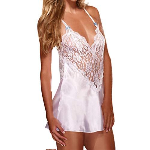 LoveLeiter Ladies sexy Spitze V-Ausschnitt Sling Nachthemd,Damen Mode Plus Size Sexy Dessous Bow Nachtwäsche Einfarbig Versuchung Unterwäsche aushöhlen Freizeit Glamouröser schlichter Nachthemd