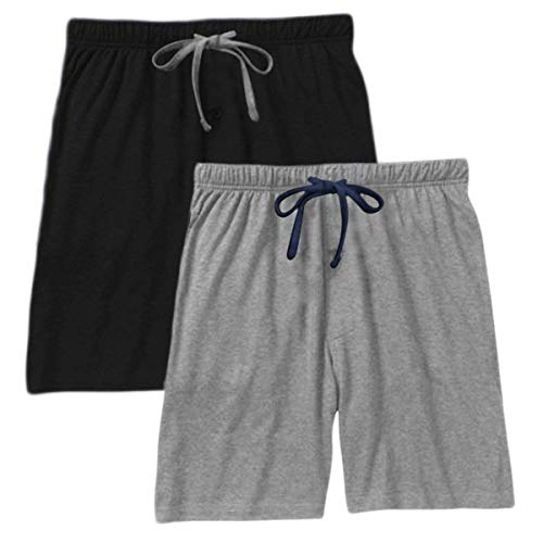 Hanes Men`s Jersey Lounge Drawstring Shorts with Logo Waistband 2-Pack (Small, Grey Heather Blue String/Black) -