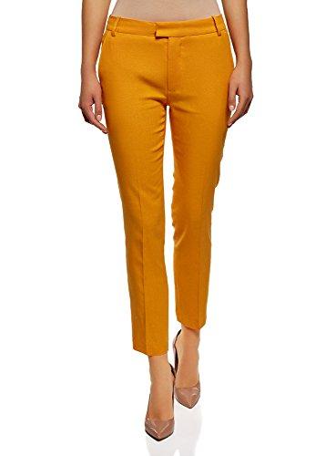 oodji Collection Damen Leinenhose mit Geradem Bein, Orange, DE 36 / EU 38 / S