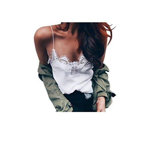 Koly_Donne senza maniche Crop canotte Backless Halter Canotte T-shirt camicetta (S, Bianco)