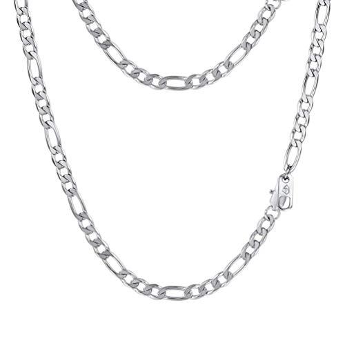 PROSTEEL Herren Halskette Edelstahl Figarokette 4MM Breite 3+1 glänzend Glieder Link Gliederkette Herren Hip-Hop Kette, 46CM lang, Silber