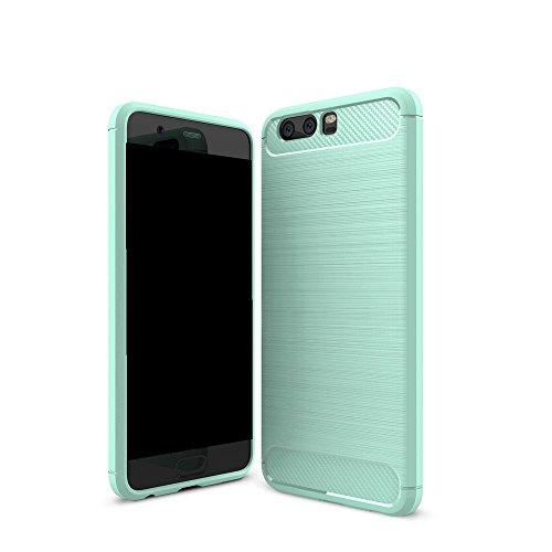 EKINHUI Case Cover Brushed Carbon Fibre Rugged Armor Stoßstange Fall Stoßdämpfer Drop Resistance Shell Back Cover für Huawei P10 Plus ( Color : Black ) Green