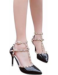 YUCH Chaussures Femmes Simple Bague de Pied Creux Rivets Bouton Souligné Chaussures Femmes,OU,36