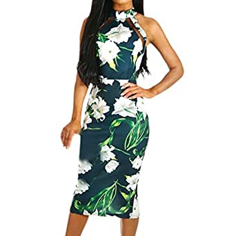 ... diandianshop Women Print Cross Off Shoulder Cold Shouder Dress Evening  Party Dress de34ecbfd3b