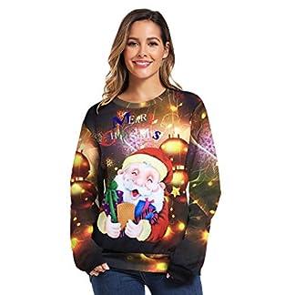 Unsex Sudadera Navidad Familia Casual Santa Claus Impresión Cálido y Cónodo Abrigo Invierno Esencial Pullover Jersey Navideño con Luces para Parejas Viajes