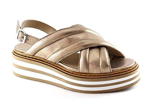 DIVINE FOLLIE 434604 oro sandali donna zeppa platform fibbia incrocio Oro