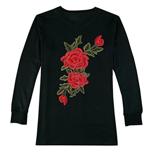 ... Tops, Yogogo Damen Appliques Floral lose lange Ärmel Tops Bluse Shirt  Casual T-Shirt ...