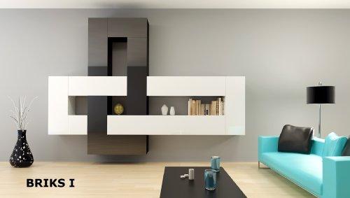 12-teilige modulare Designer Hochglanz Wohnwand Briks I mit großer Farbauswahl