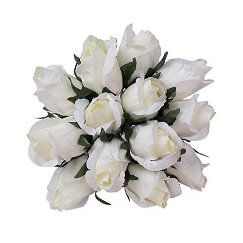 Wozow fiori artificiali,fiori finti,bouquet di rose di cristallo,damigella d'onore,bouquet da sposa,sposa fiore di seta artificiale 1 pezzi beige