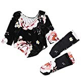 Julhold 2 STÜCKE Baby Neugeborenes Mädchen Schwarz Floral Lässig Strampler + Strümpfe Body Kleidung Outfit 0-24 Monate