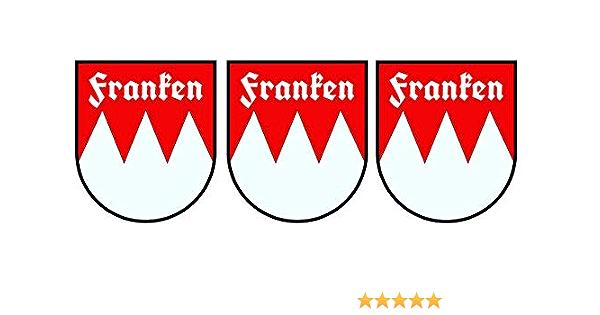 Etaia 4 3x5 Cm 3 X Mini Auto Aufkleber Wappen Franken Mit Schrift Sticker Motorrad Bike Biker Auto