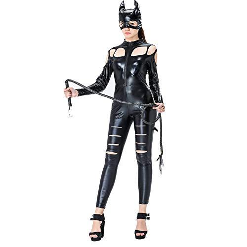 Halloween Patent Leder Cat Girl Cosplay Party Kostüme Bar Nachtclub Maskierte Lack Leder Jumpsuit Sexy Kleidung,Black Kid Patent-leder