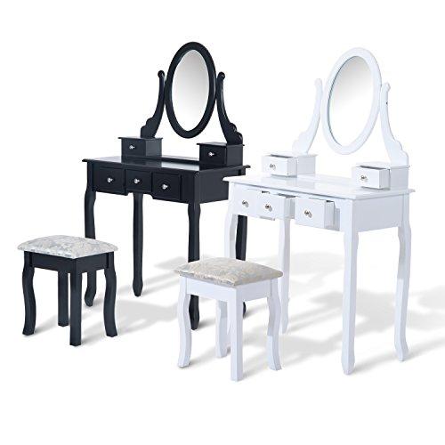 Tocador-Taburete-y-Espejo-Mesa-Maquillaje-5-Cajones-Blanco-Negro-Mesa-MDF-NUE