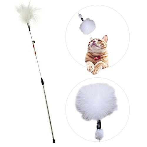 zaTeazer Katzenspielzeug (weiß) | interaktiver Federstab mit Natur-Federn und Glocke | Premium Federwedel | robuste Katzenangel | Handarbeit – natürlich – langlebig – animierend