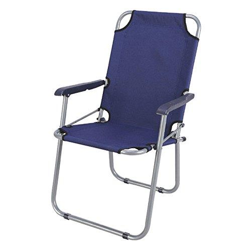 Sedia pieghevole in acciaio e pvc con braccioli farfalla blu 65x55x44