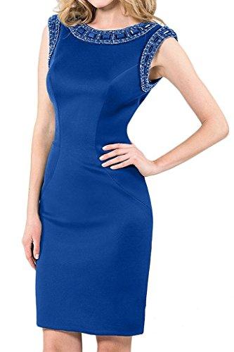 Charmant Damen Wunderschoen Satin Steine Mini Abendkleider Ballkleider Partykleider fomal Damenmode Royal Blau