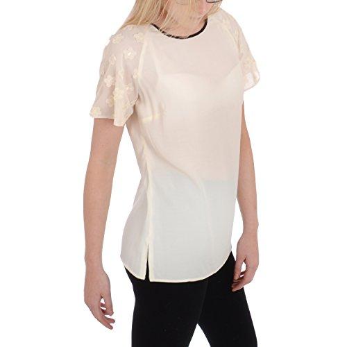 Dunnes-femme-t - shirt manches courtes 3s - 1/4 zip-crème Beige - Ivoire