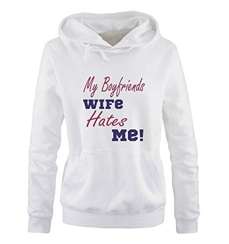 Comedy Shirts - My Boyfriends Wife Hates me! - Damen Hoodie - Weiss/Lila-Fuchsia Gr. XL Army Wife Sweatshirt
