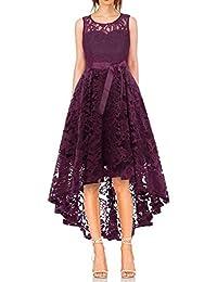 4803a860df0 Vestido Cóctel Vintage A-línea Hi-Lo Elegante Mujer Flor Encaje Vestidos ...