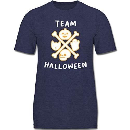 Anlässe Kinder - Team Halloween - 152 (12-13 Jahre) - Dunkelblau Meliert - F130K - Jungen Kinder T-Shirt