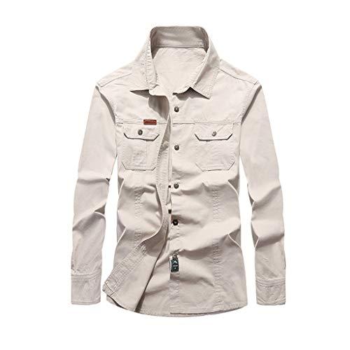 Cap Sleeve Shirt Öse (WORMENG Herren Frühjahr und Herbst Multi-Pocket Revers Langarm Baumwolle Workwear Shirt Bluse Top Hemd Casual Sommer Lässige)