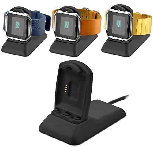 VICARA Kompatible Fitbit Blaze Ladegerät Ladestation Zubehör mit Micro USB Kabel für Fitbit Blaze Smart Fitness Uhr (Schwarz)