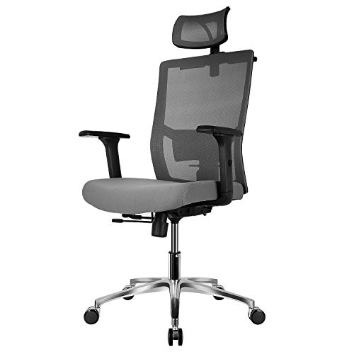 FIXKIT Bürostuhl, Ergonomischer Bürostuhl, Chefstuhl, 360°Drehen mit Einstellbare Kopfstütze Armlehnen, Höhenverstellung und Wippfunktion für Soho- oder Büroarbeit(Hellgrau)