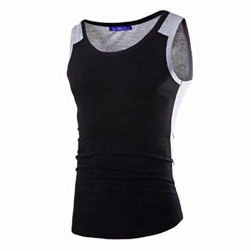 Men's Casual Fitness Elastic Quality Fashion Sleeveless Vest Black