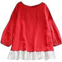 JURTEE Damen Herbst Einfarbig Sweatshirt Ladies Beiläufig Spitze Patchwork Langarm T-Shirt Tops Lange Bluse Oberteile