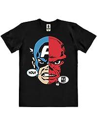 Marvel Comics - Captain America et Crâne rouge Visage T-Shirt 100 % coton organique (agriculture biologique) - noire - design original sous licence - LOGOSHIRT