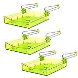 Lantelme 7323 Kühlschrank Schublade 3 Stück Set - Zusatzfach Ausziehbar Farbe grün aus Kunststoff und Edelstahl
