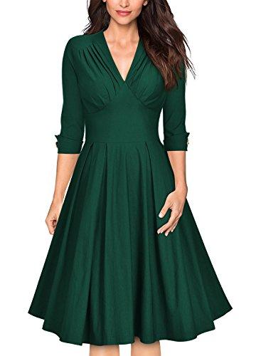 Miusol Vintage 1950s Cuello en V Cóctel Vestido para Mujer Verde Small