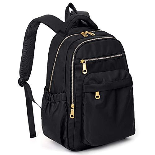 UTO Zaino per computer portatile 13' in nylon impermeabile leggero per zaino da viaggio o scuola o lavoro con cerniere lampo colore oro Nero