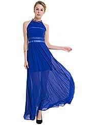 La Sra. verano vestido vestidos de verano vestidos al estilo occidental gran falda de color sólido chiffon hombros desnudos ,AZUL,XL/UE42 falda larga-YU&XIN