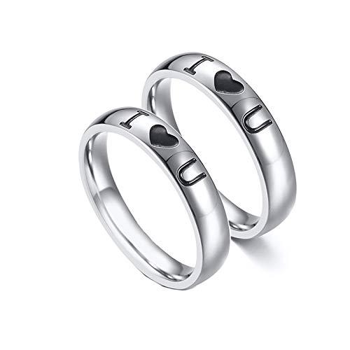 Beydodo 2 Edelstahl Eheringe Frauen Männer I Love U Rund 4 MM Hochzeitsring Partnerringe Silber Damen Gr.52 (16.6) + Herren Gr.54 (17.2)