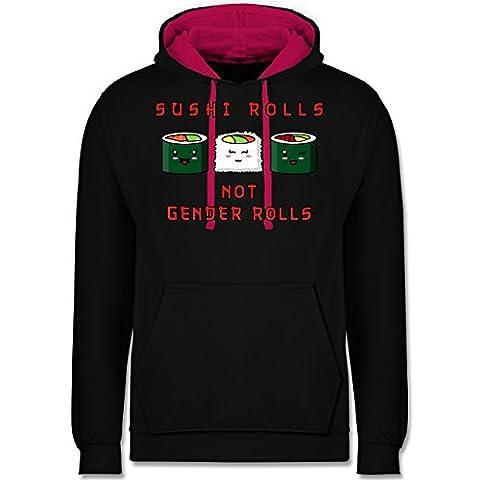 Statement Shirts - Sushi rolls, not gender rolls - XXL - Schwarz/Fuchsia - JH003 - Unisex Damen & Herren Kontrast (Frühling Schlagwörter)